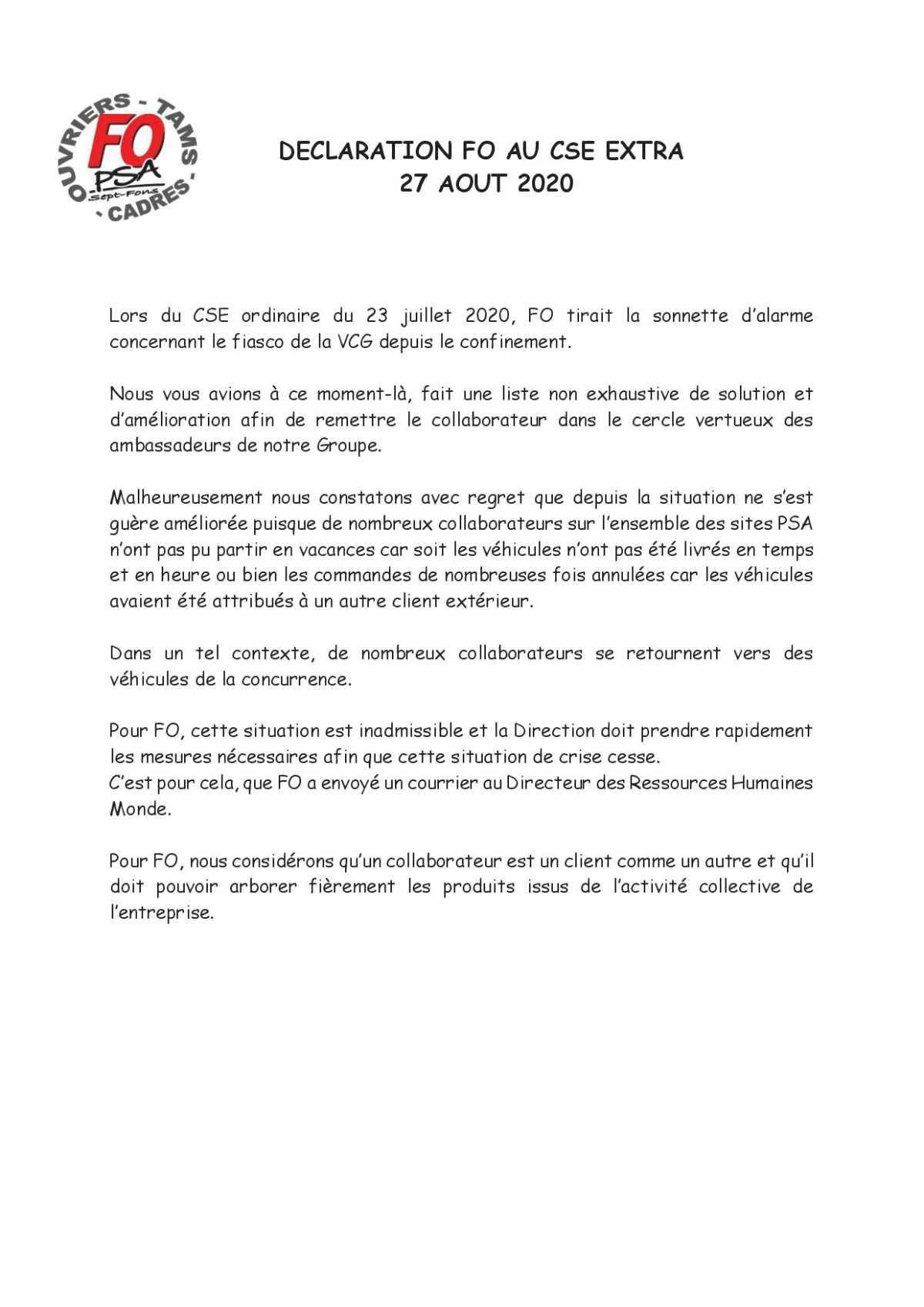 CSE en cours, Déclaration FO !