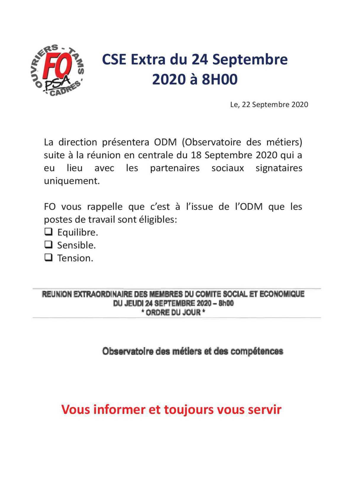 CSE Extra du 24 Septembre 2020 à 8H00.