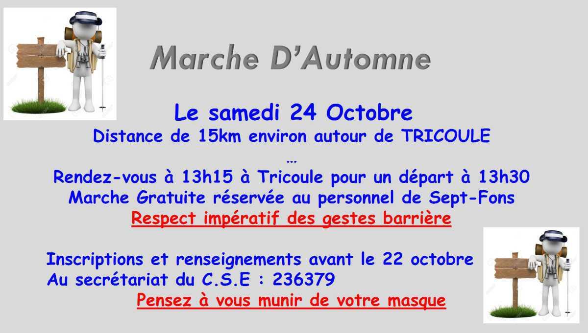 Marche d'Automne 24 octobre 2020