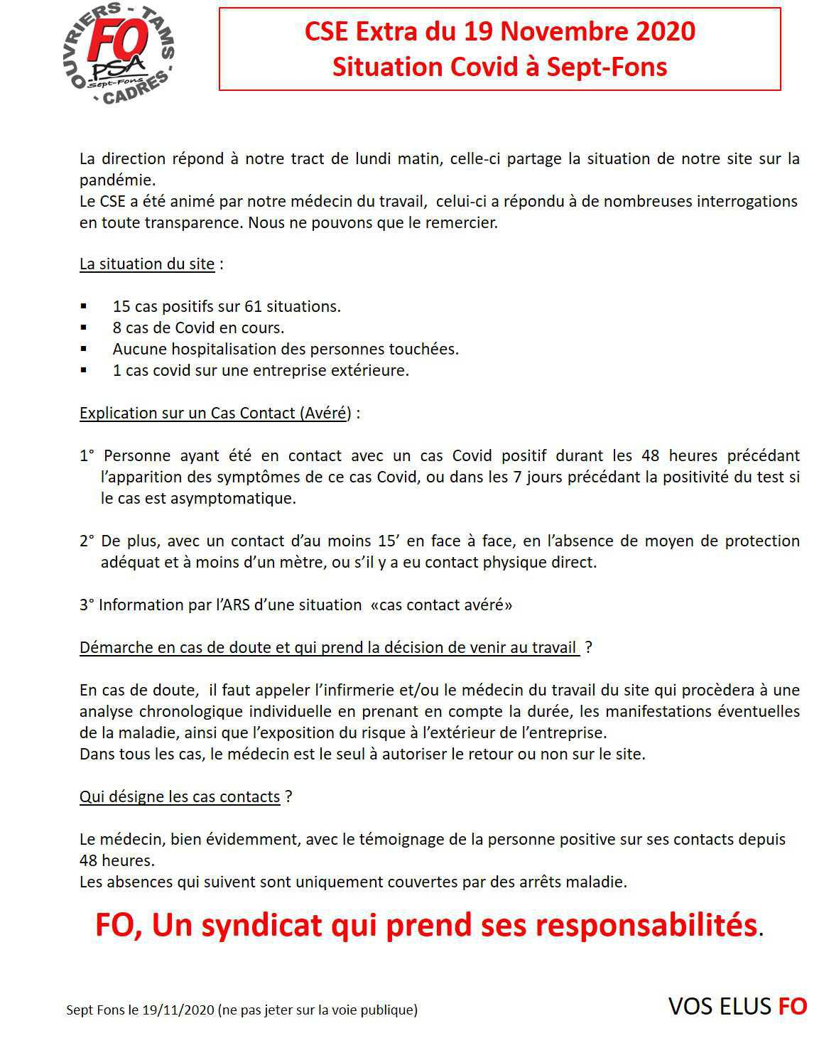 Compte rendu complet du CSE Extra du 19/11/2020.