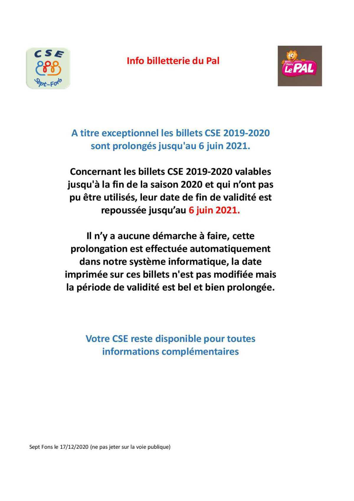 Info billetterie du Pal prologation de la validité des billets 2020.