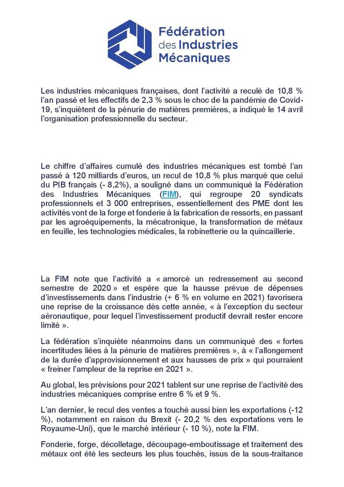 Recul des industries mécaniques en France.