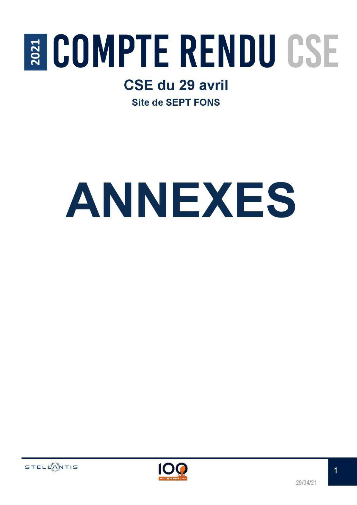 compte rendu CSE du 29 Avril 2021.