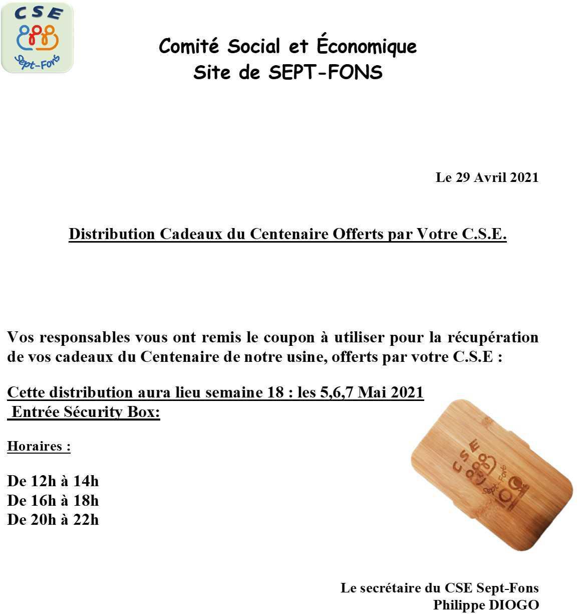 Distribution Cadeaux du Centenaire Offerts par Votre C.S.E