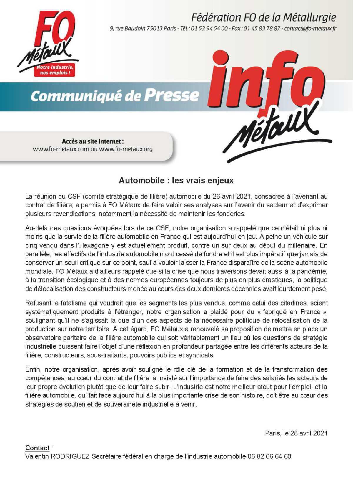 La défense des emplois en France...