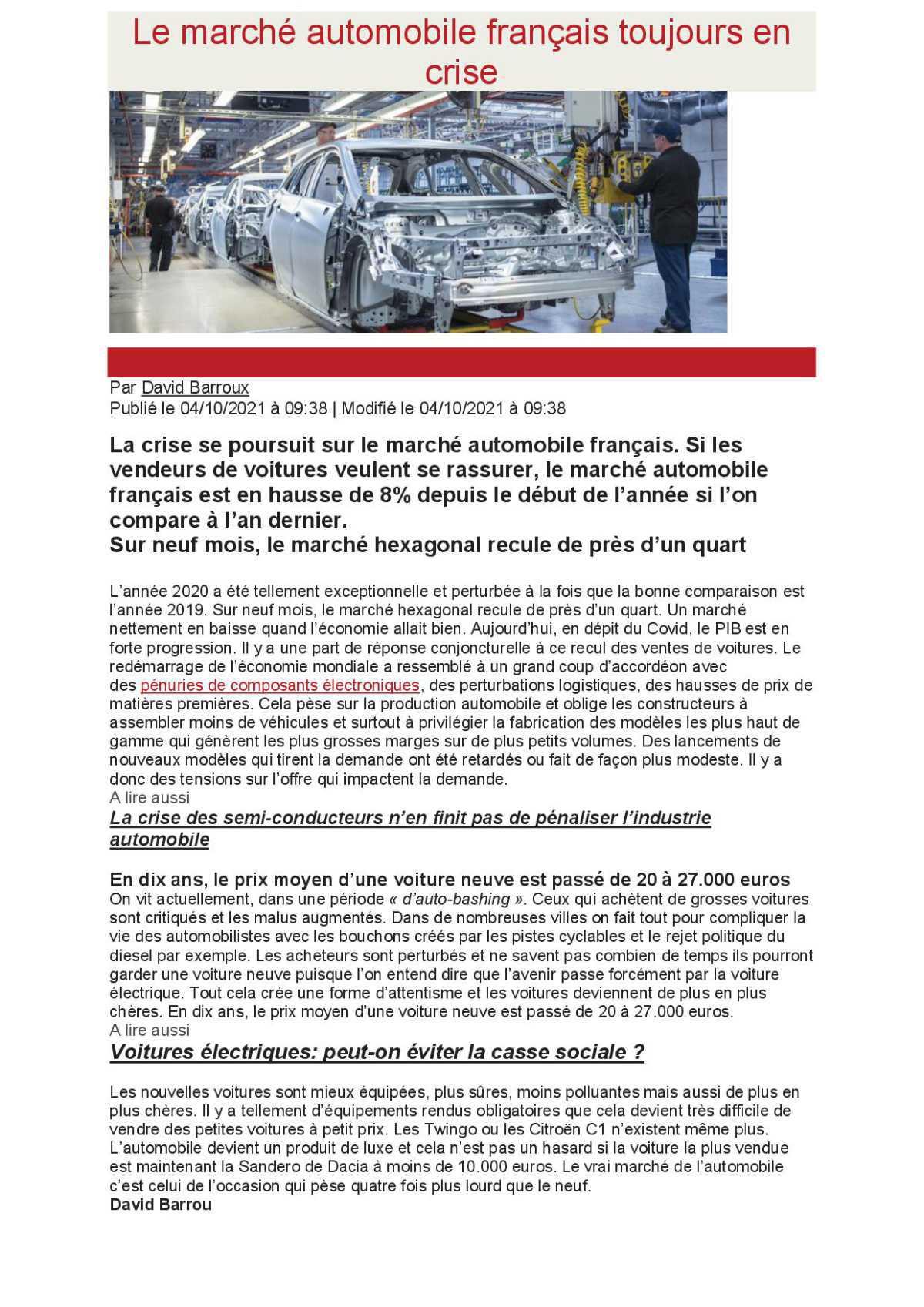 Marché automobile Francais toujours en crise.