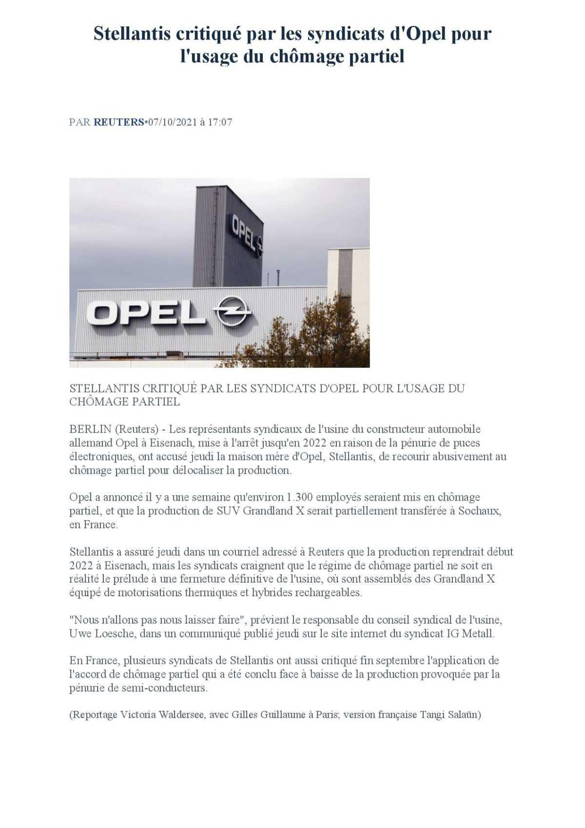 Stellantis critiqué par les Syndicats d'Opel..