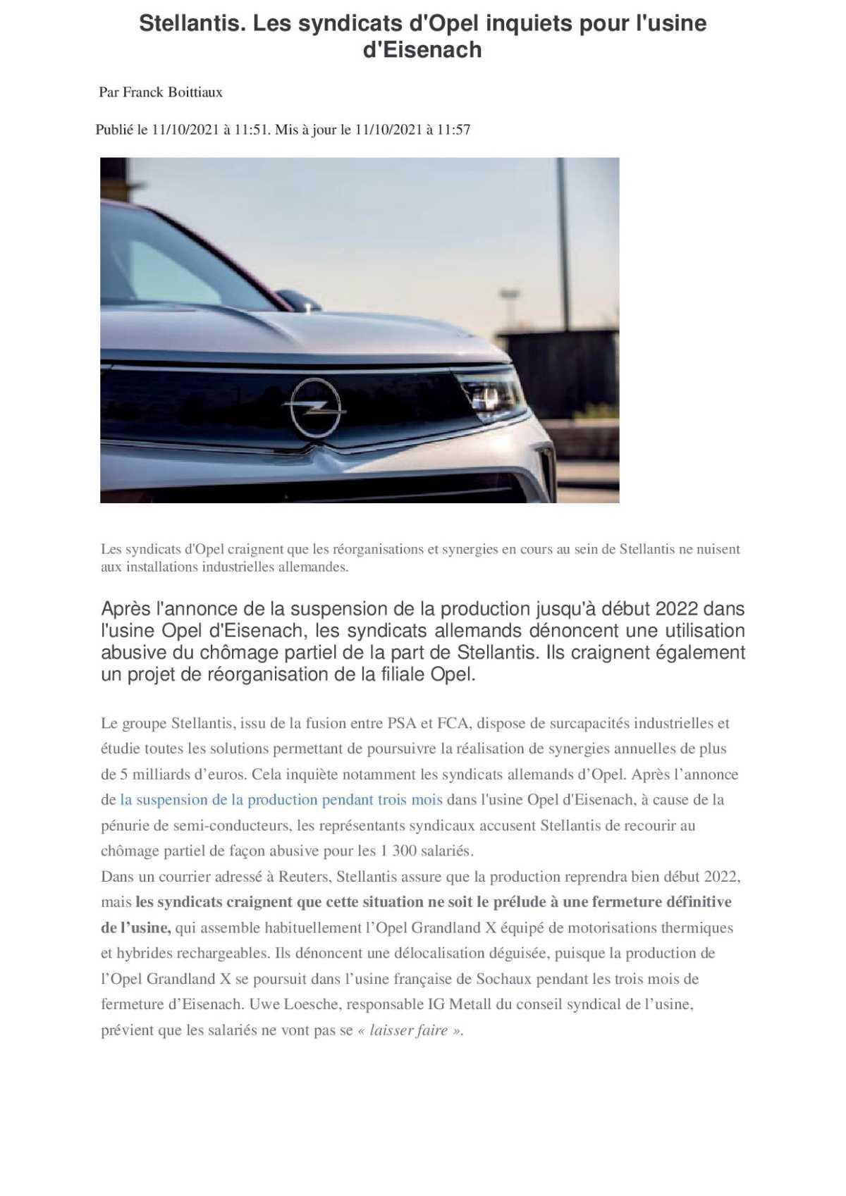 Opel inquiet pour Eisenach..