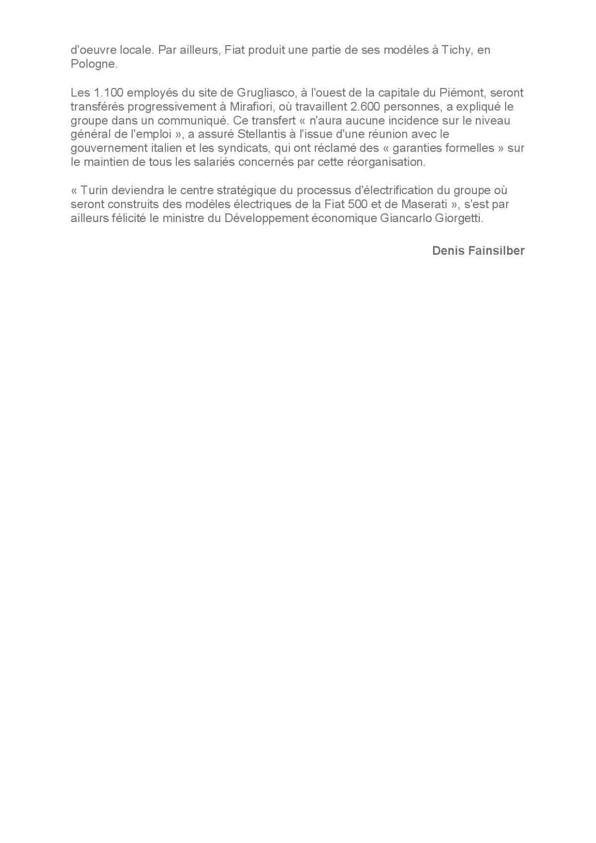 Stellantis réorganise ses usines Fiat.