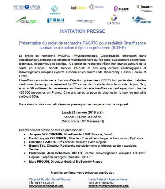 Sanofi : conférence de presse PACIFIC