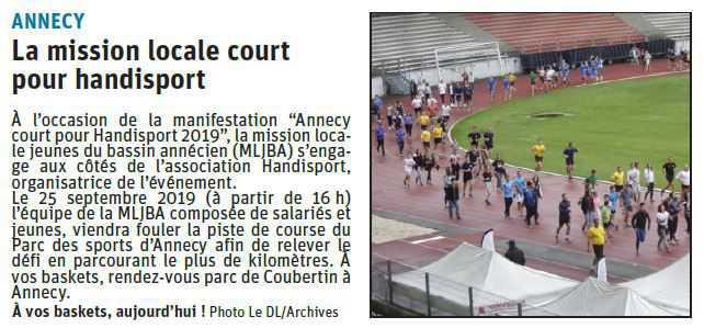 Article Dauphiné Libéré - La MLJBA court pour Handisport