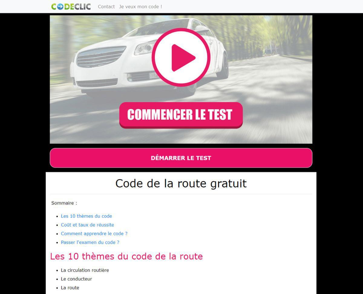 CODECLIC : Test gratuit du code de la route