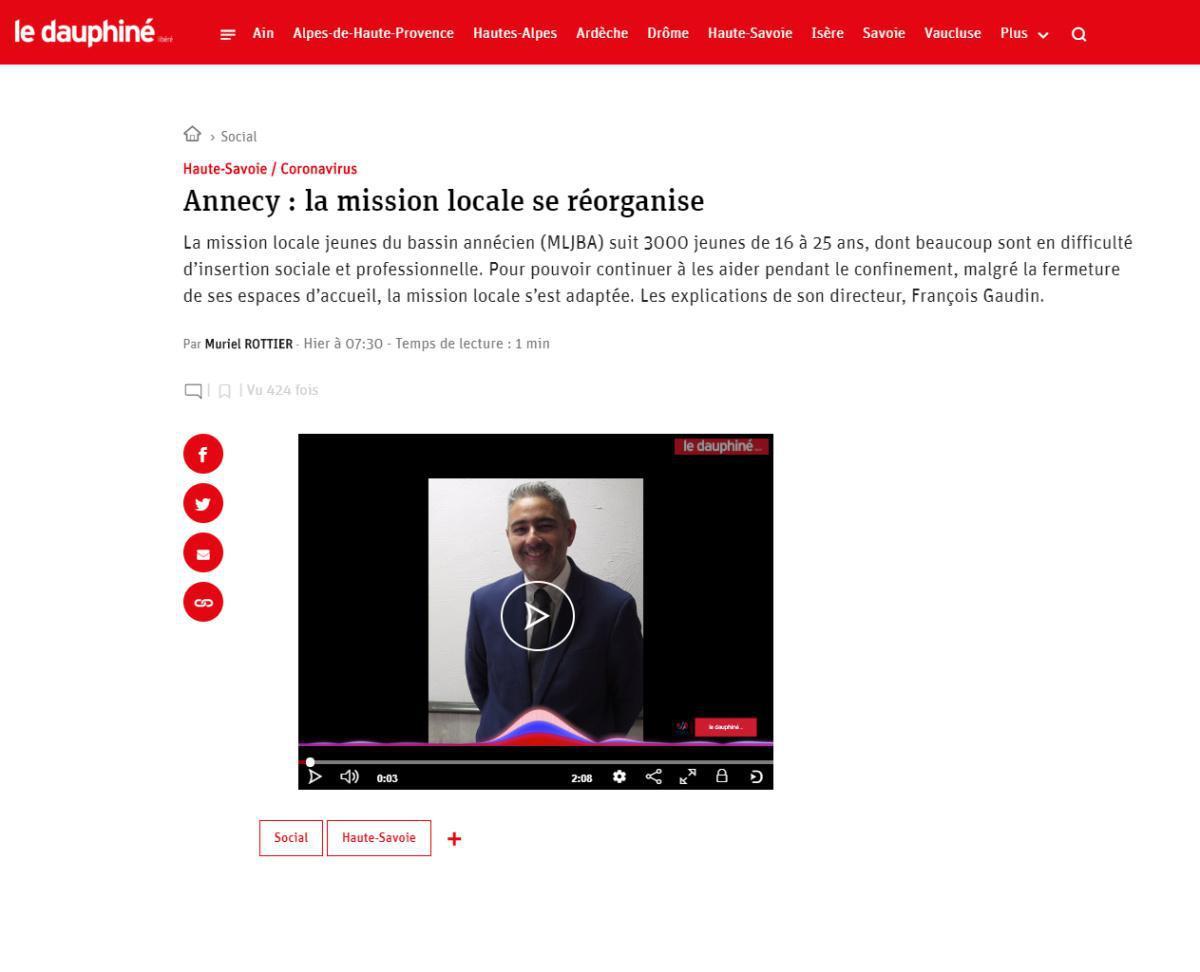 Article Dauphiné Libéré - Annecy : La Mission Locale se réorganise