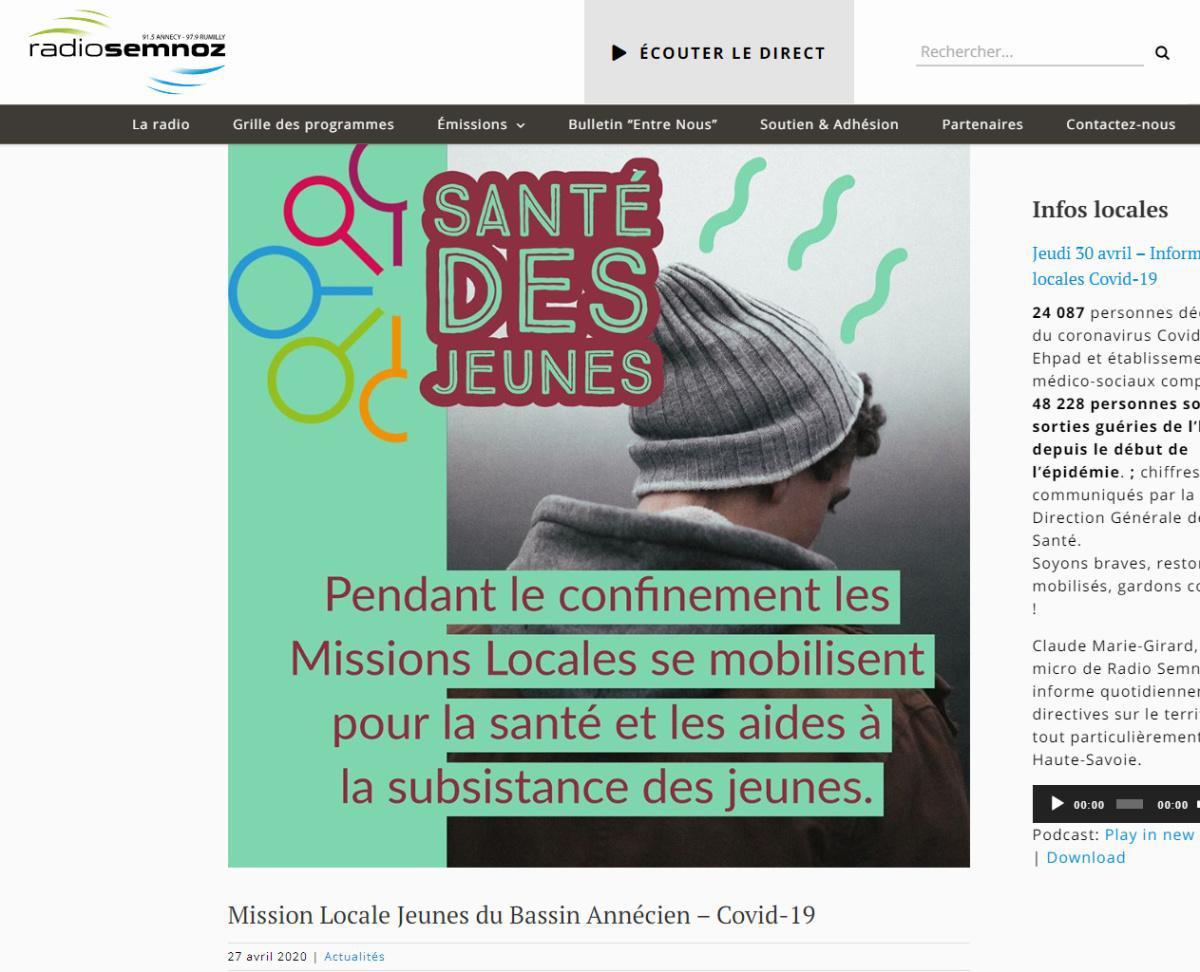 Actualité Radio Semnoz - Mission Locale Jeunes du Bassin Annécien – Covid-19