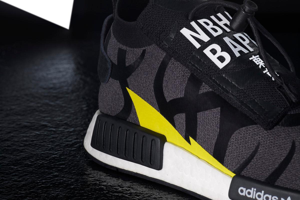 "BAPE x NEIGHBORHOOD x adidas Originals ""NHBAPE® POD S-3.1"" et NMD STLT"