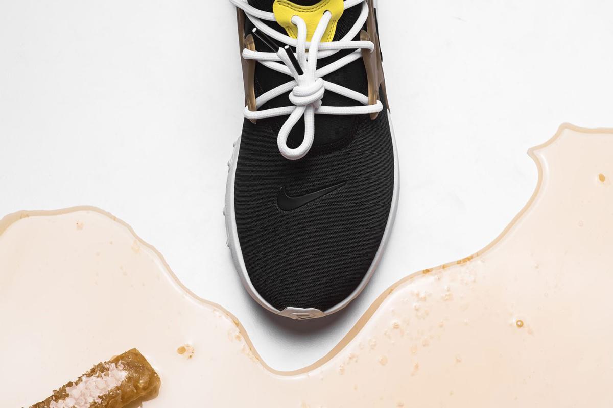 "Le Nike Presto React sort dans un colorway ""Brutal Honey""."