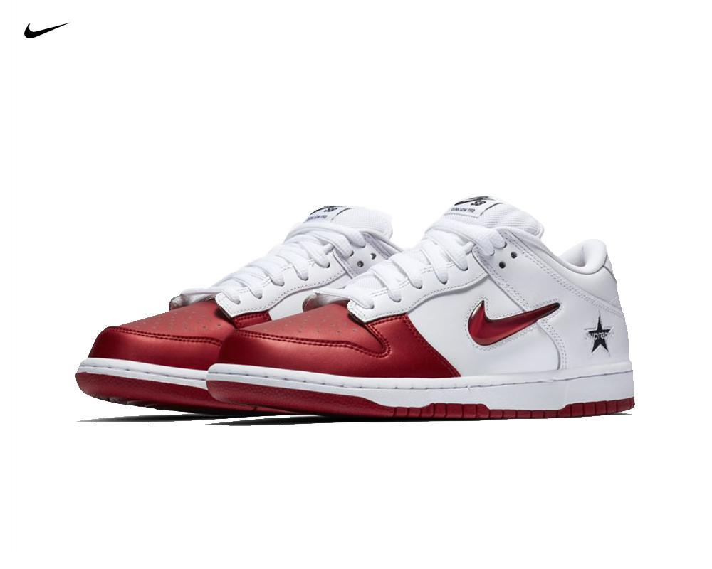 NIKE SB Dunk Low x Supreme White Red