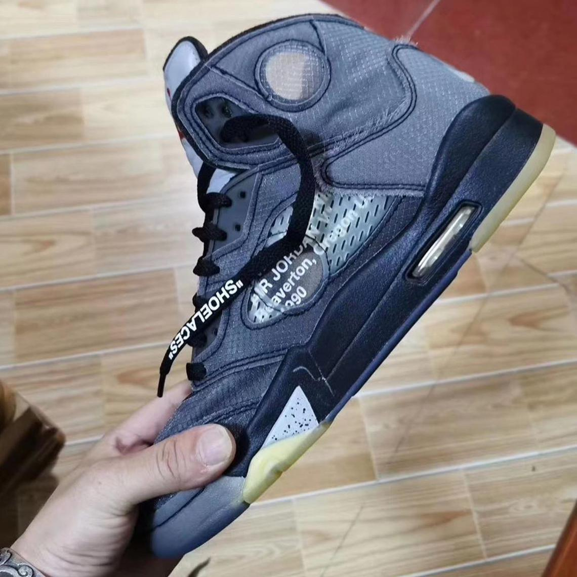 """Off-White x Air Jordan 5 """"Black/Metallic"""""""