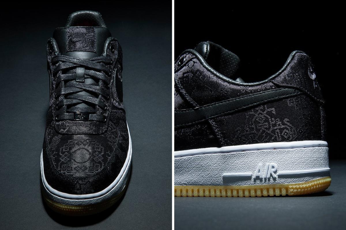"""Jetez un coup d'oeil officiel au design fragment x CLOT x Nike Air Force 1 """"Black Silk""""."""