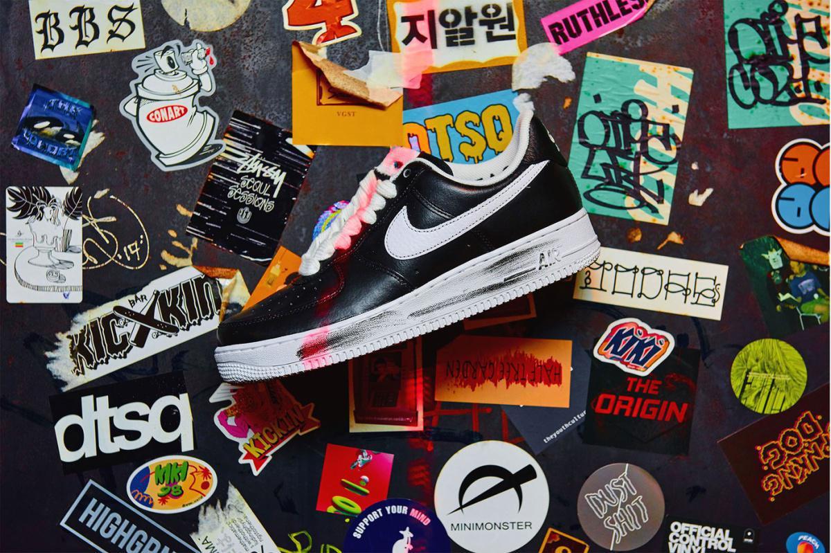 """G-Dragon PEACEMINUSONE x Nike Air Force 1 """"Para-Noise""""."""