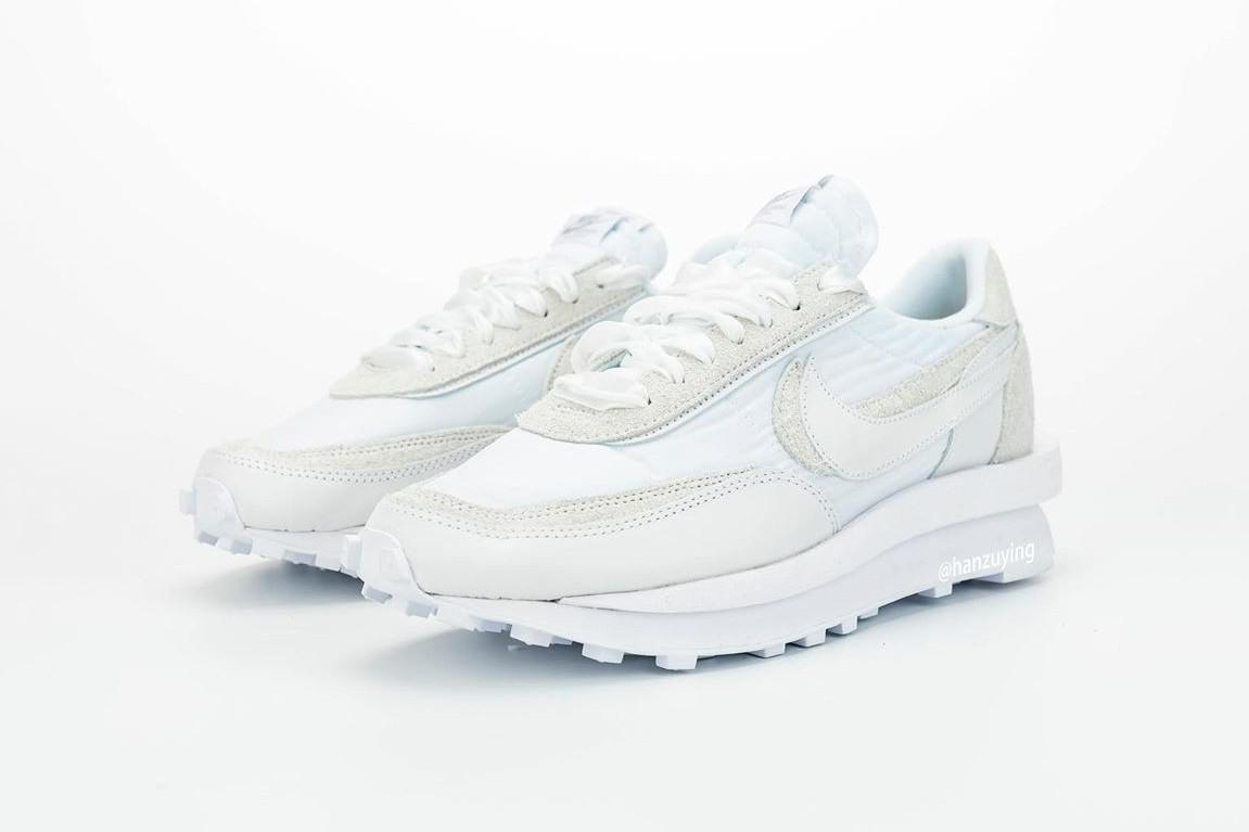 "Un meilleur aperçu de la Sacai x Nike LDWaffle en ""Blanc""."