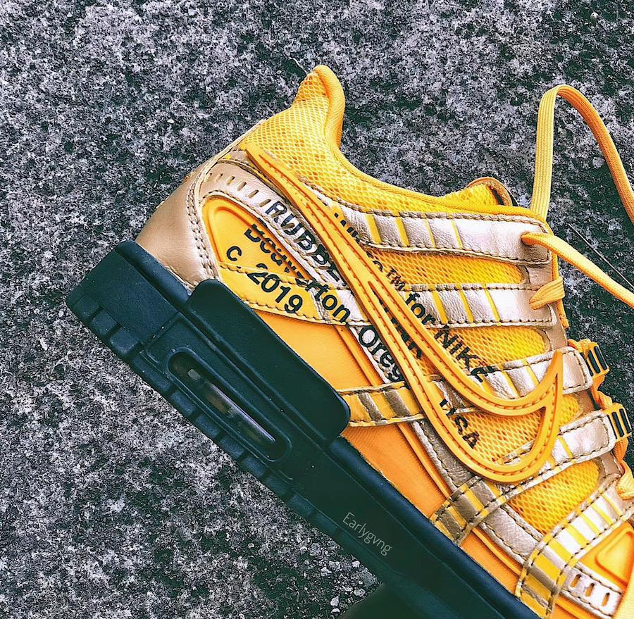 "Off-White X Nike air rubber dunk ""university gold"""
