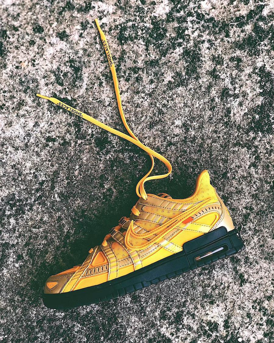 """Off-White X Nike air rubber dunk """"university gold"""""""