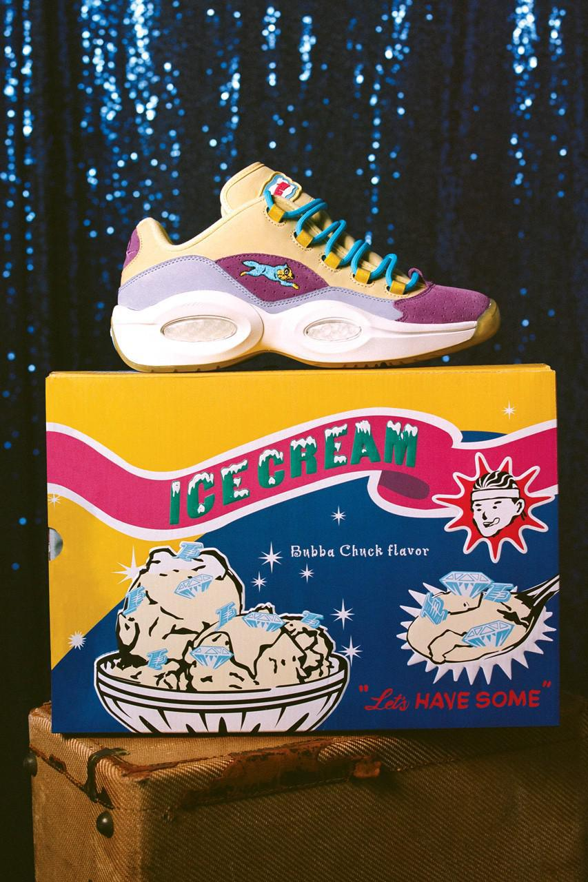 BBCICECREAM x Reebok Question Lows applique son graphique de chien de course