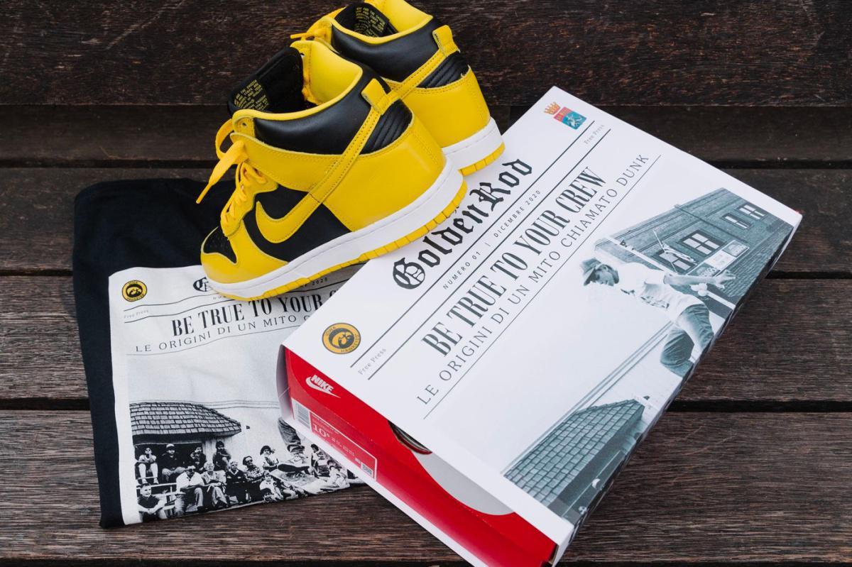 """Sneakers76 et Ginnika sortent une capsule célébrant la """"Varsity Maize"""" Nike Dunk High"""