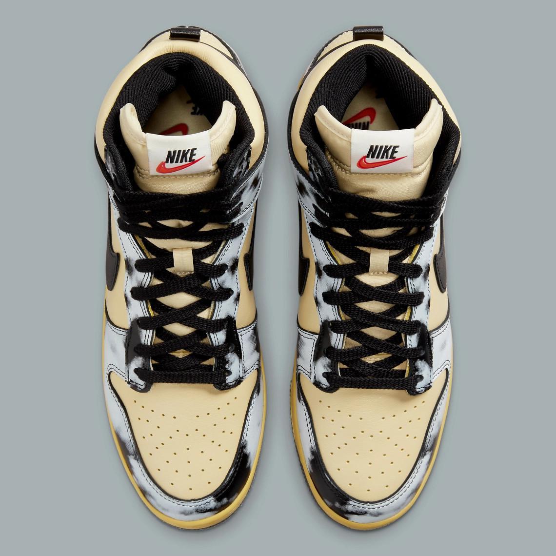 """Images officielles de la Nike Dunk High 1985 """"Acid Wash"""" en gris"""