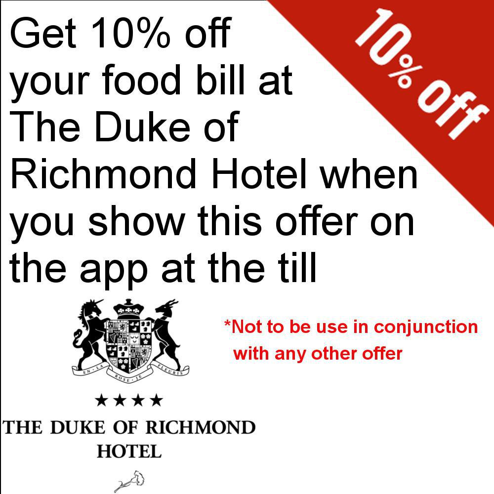 10% off your food bill at Duke of Richmond Hotel