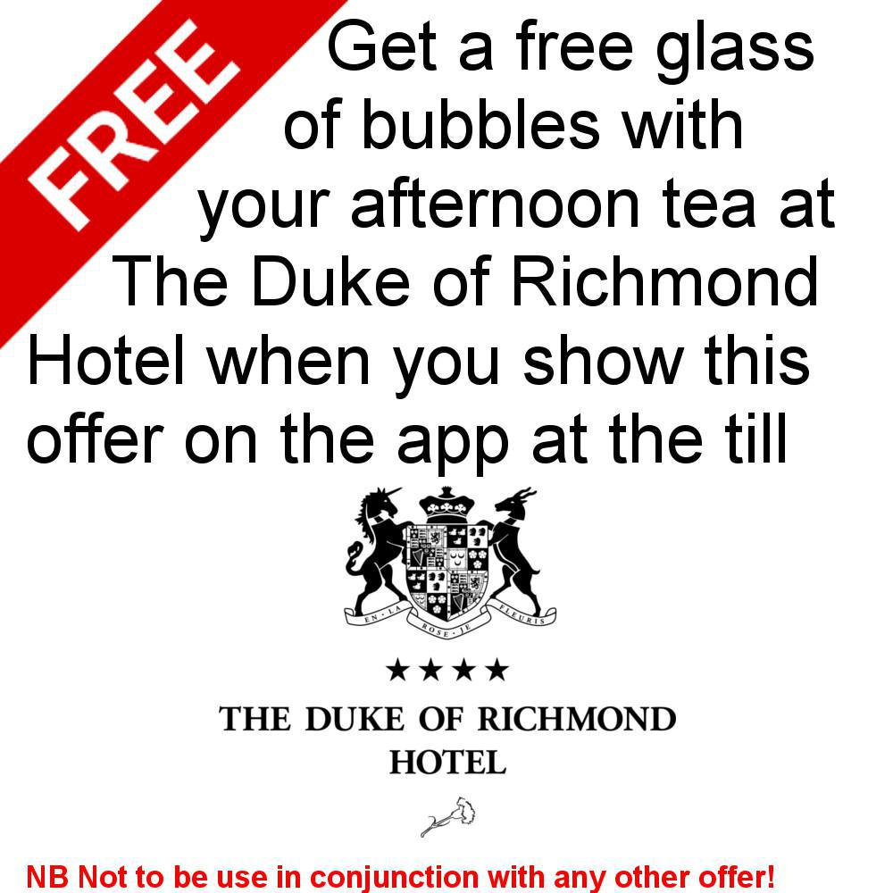 Free glass of bubbles with your afternoon tea at Duke of Richmond Hotel