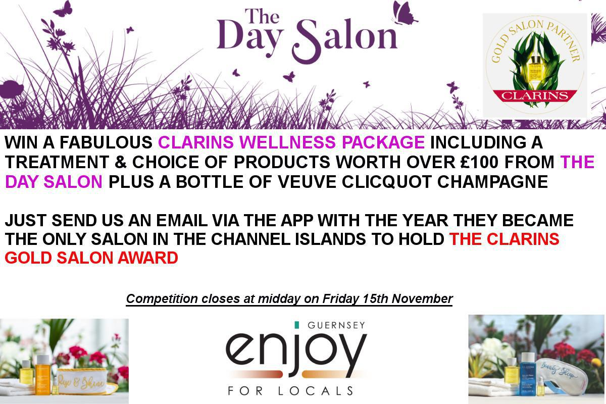Win a bottle of bubbly and a Clarins Wellness Package
