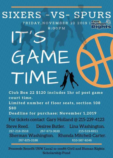 USW Civil and Human Rights Night Out With The Philadelphia 76ers
