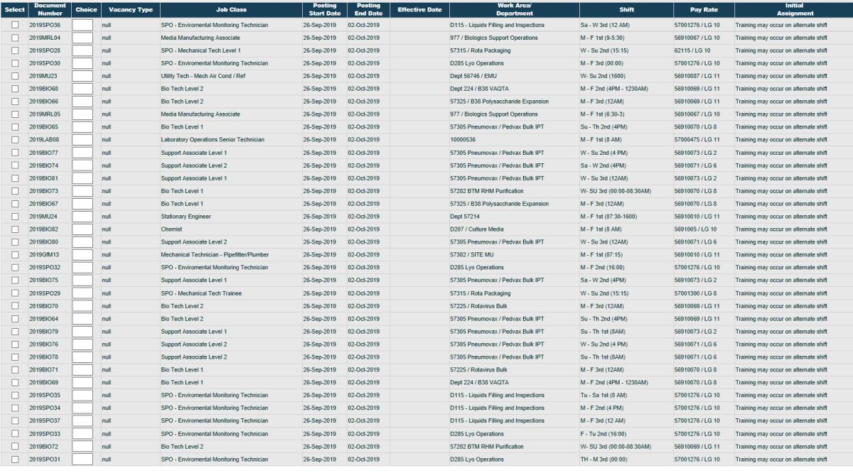 September 26th Job Postings