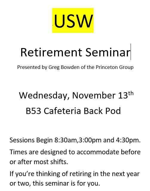 Retirement Seminar.