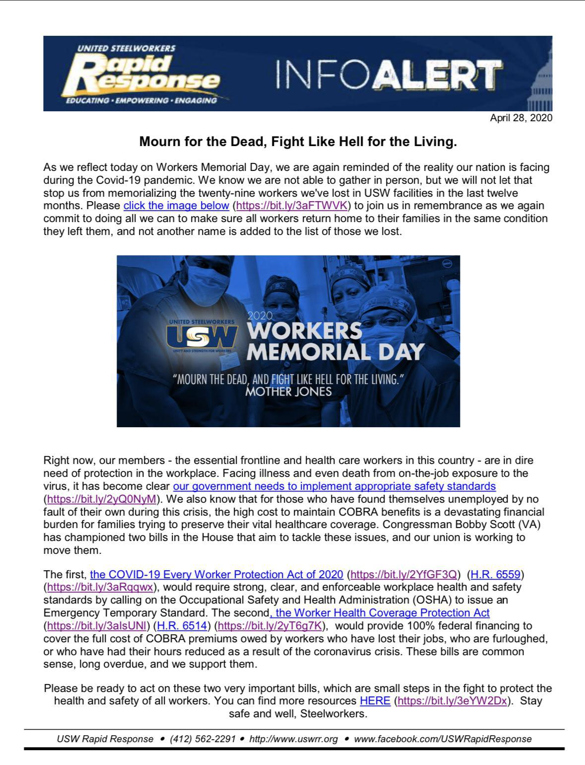 Reflection on workers Memorial Day .