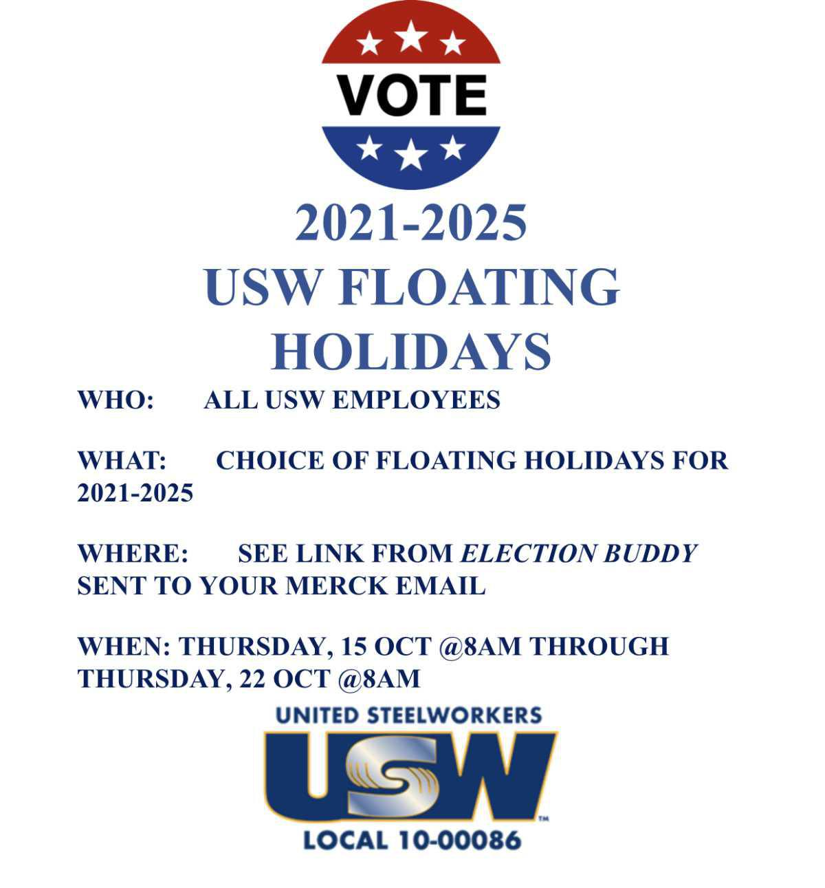 Floating Holiday Elections.