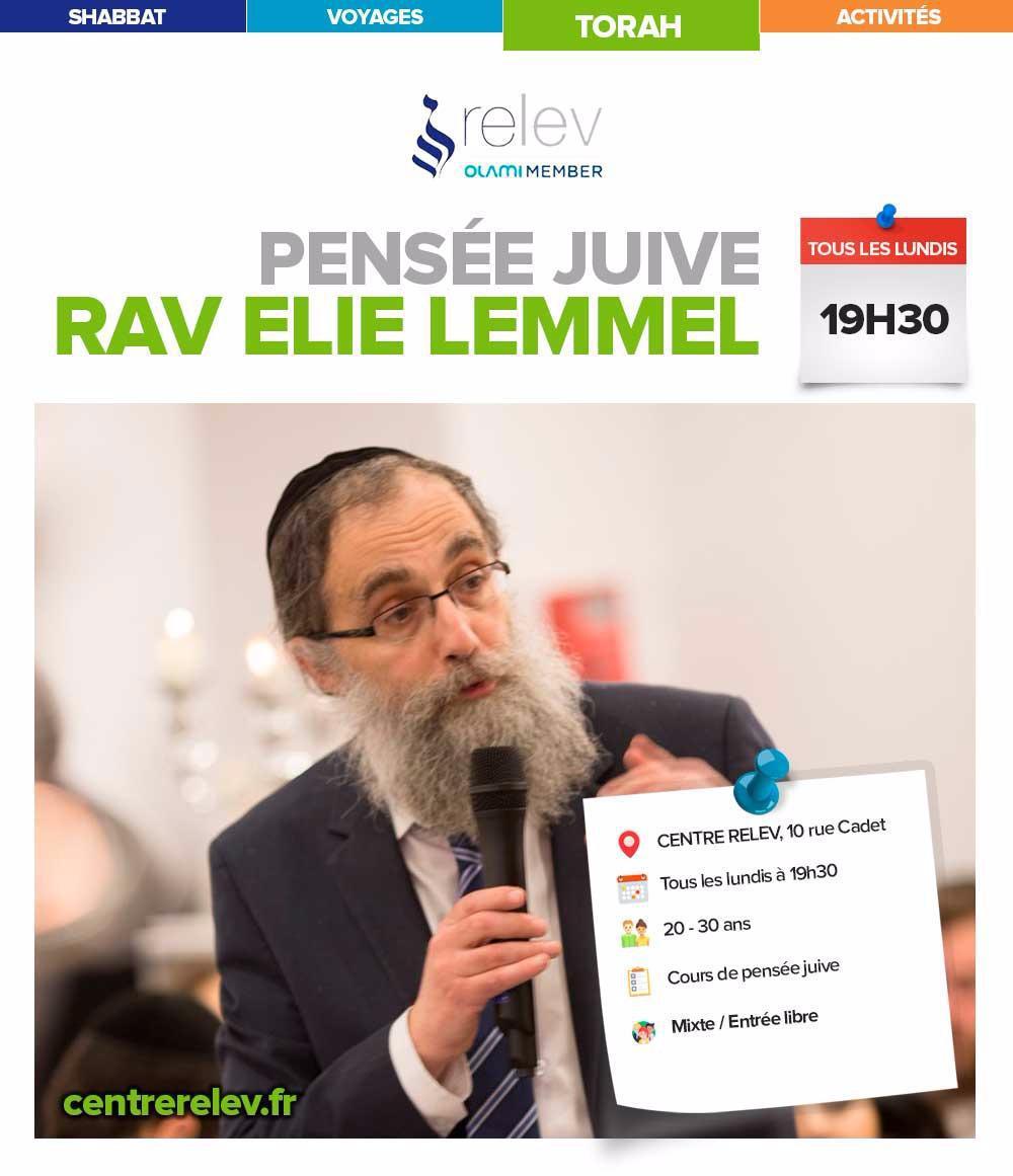 Cours Lundi: Rav Lemmel à 19h30