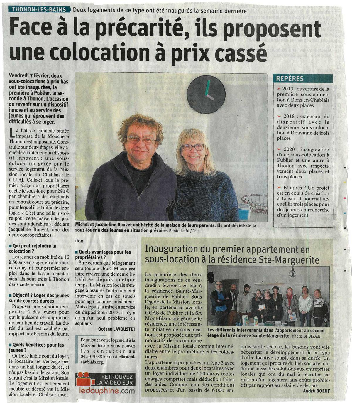 Article Dauphiné Inauguration sous-colocation
