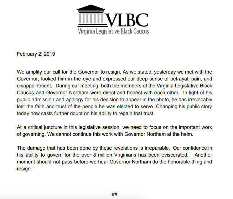 The Virginia Legislative Black Caucus Addresses Northam's Refusal to Resign