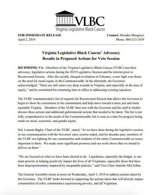 Virginia Legislative Black Caucus' Advocacy Results in Proposed Actions for Veto Session