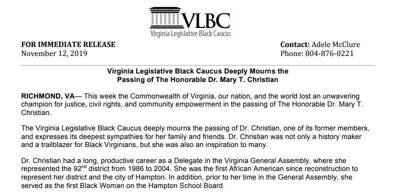 Virginia Legislative Black Caucus Deeply Mourns the Passing of The Honorable Dr. Mary T. Christian