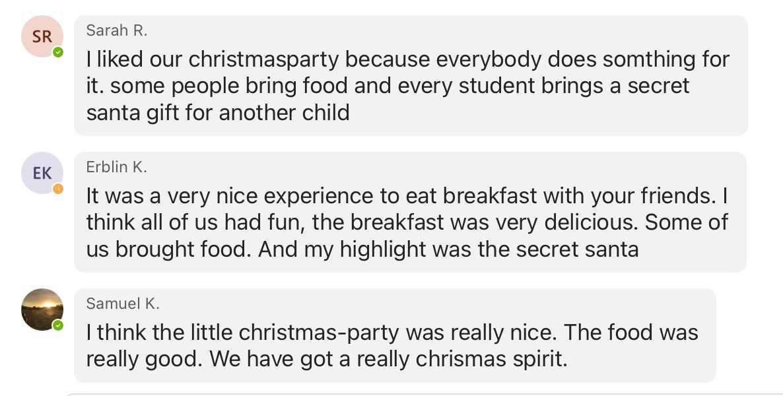 Christmasparty der SP1b - Rückblick