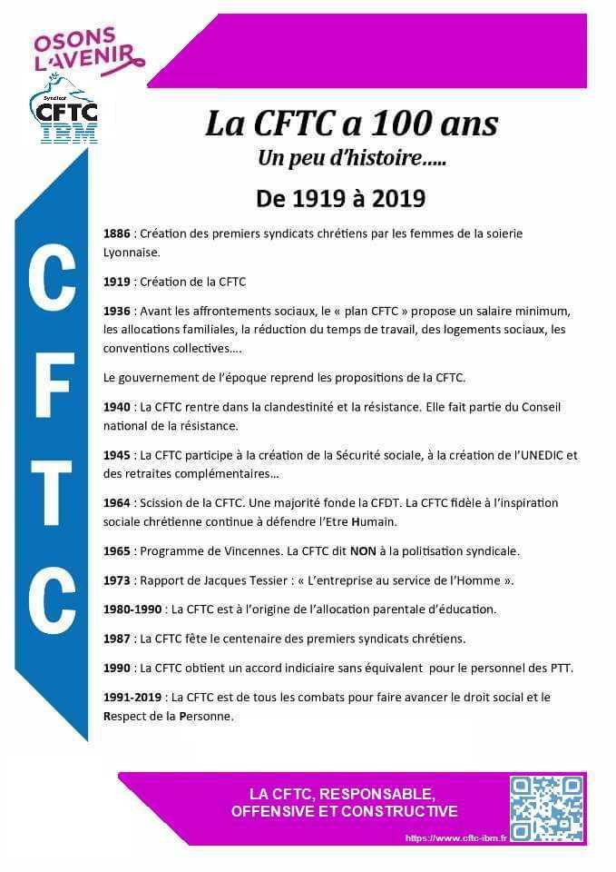 LA CFTC FETE SES 100 ANS EN 2019