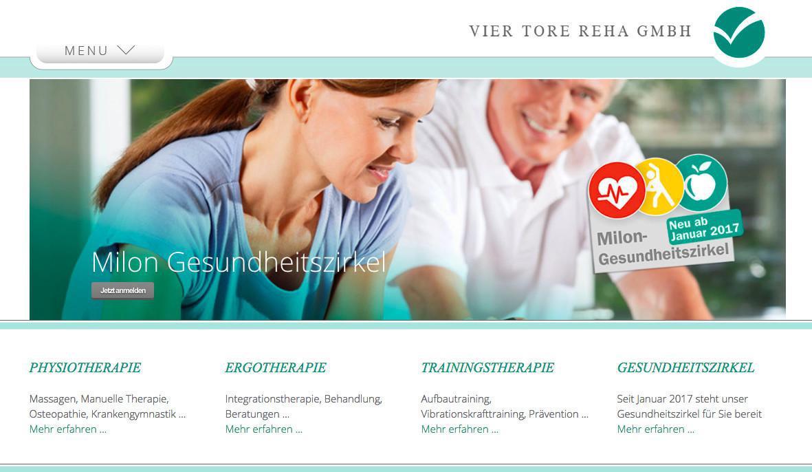 Mobile Webseite für Physiotherapie: Vier Tore Reha GmbH