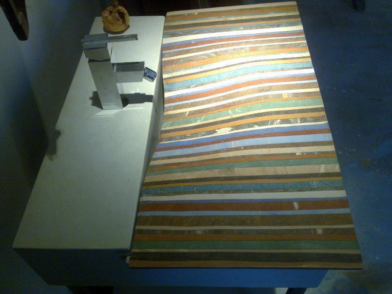 Striped Cocciopesto washbasin