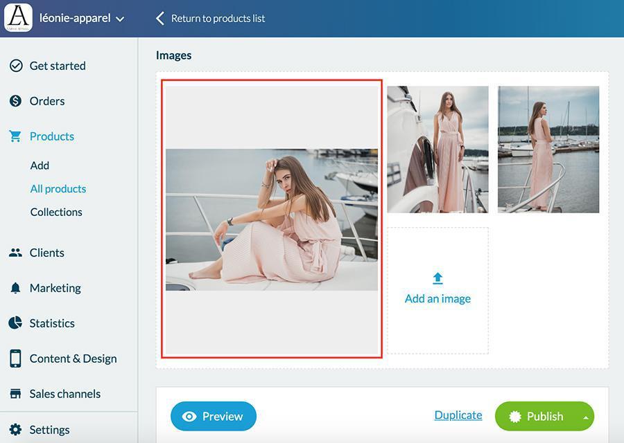Selecciona la imagen predeterminada para un producto.