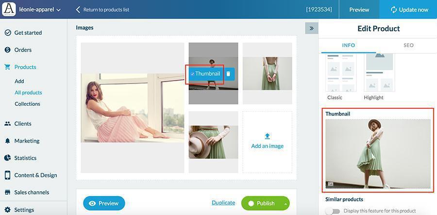 Añade una imagen a un producto