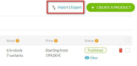 Importación de productos - CSV
